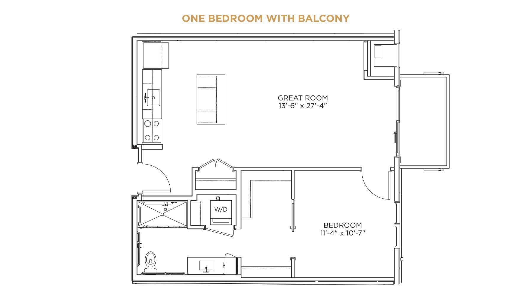 One Bedroom with Balcony Floor Plan - senior living properties Cedar Rapids - Grand Living at Indian Creek