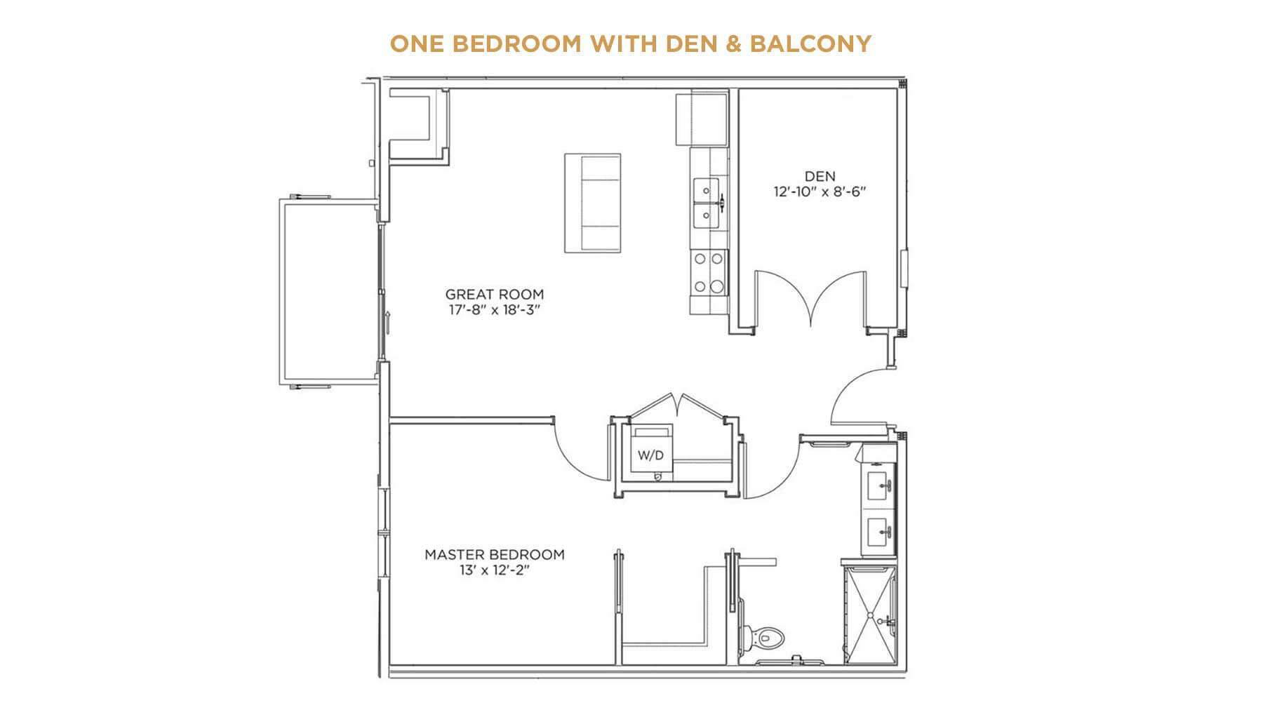 One Bedroom with Den and Balcony Floor Plan - apartments for assisted living Cedar Rapids IA - Indian Creek