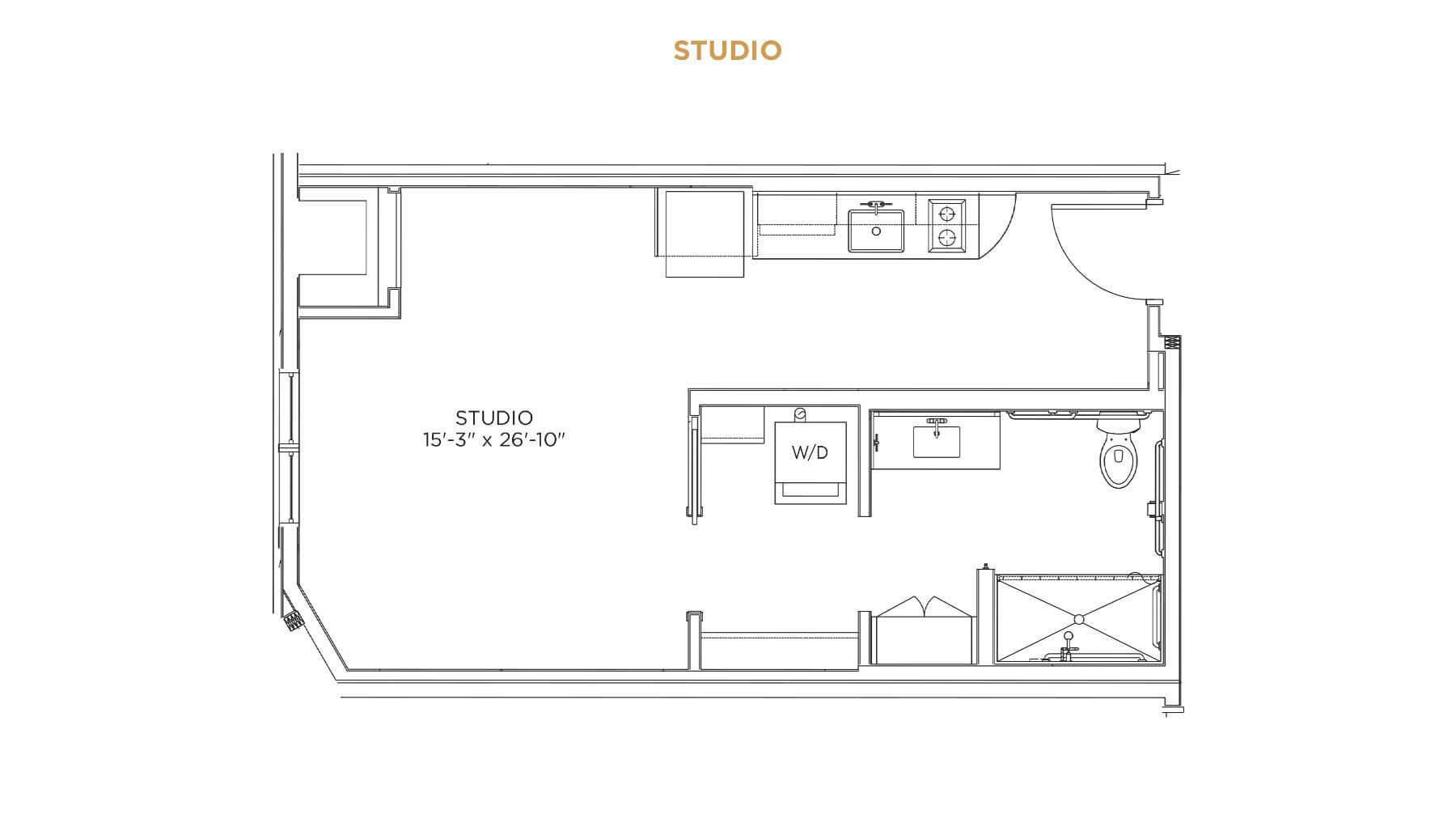 Studio Floor Plan - Assisted Living Near Me - Grand Living at Indian Creek