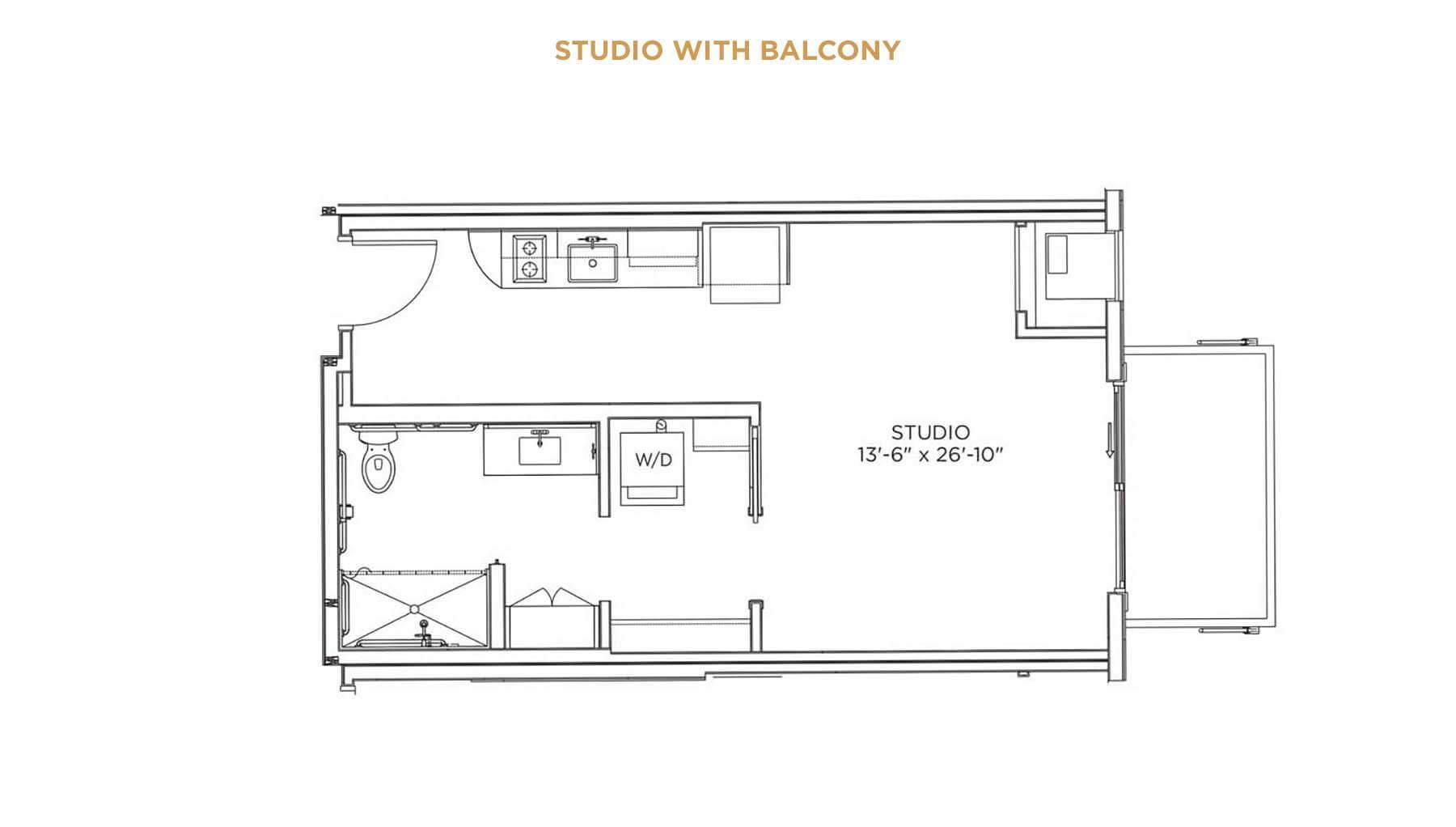 Studio with Balcony Floor Plan - senior living housing Cedar Rapids - Grand Living at Indian Creek