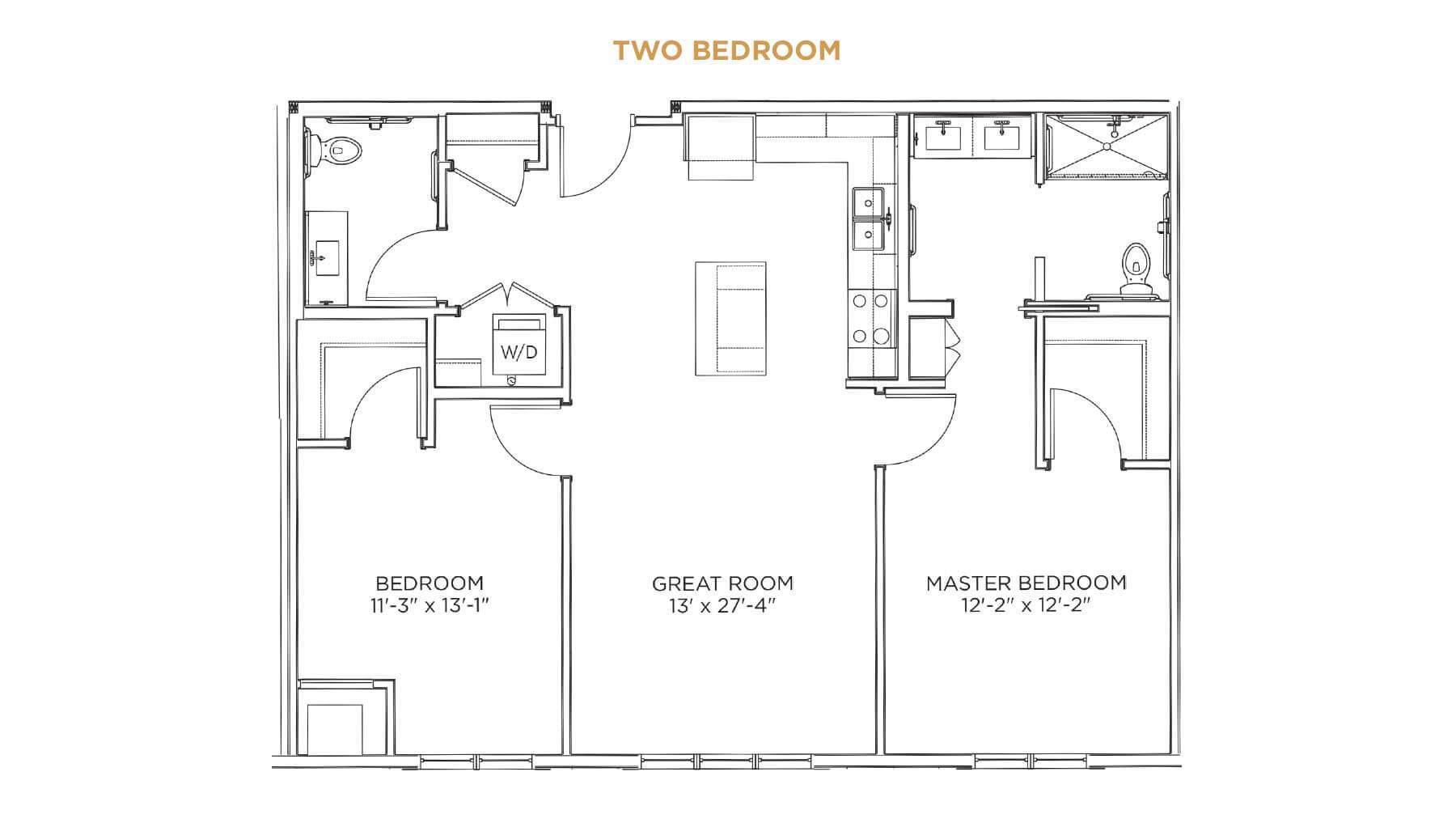 Two Bedroom Floor Plan - senior living 55+ communities Cedar Rapids - Grand Living at Indian Creek