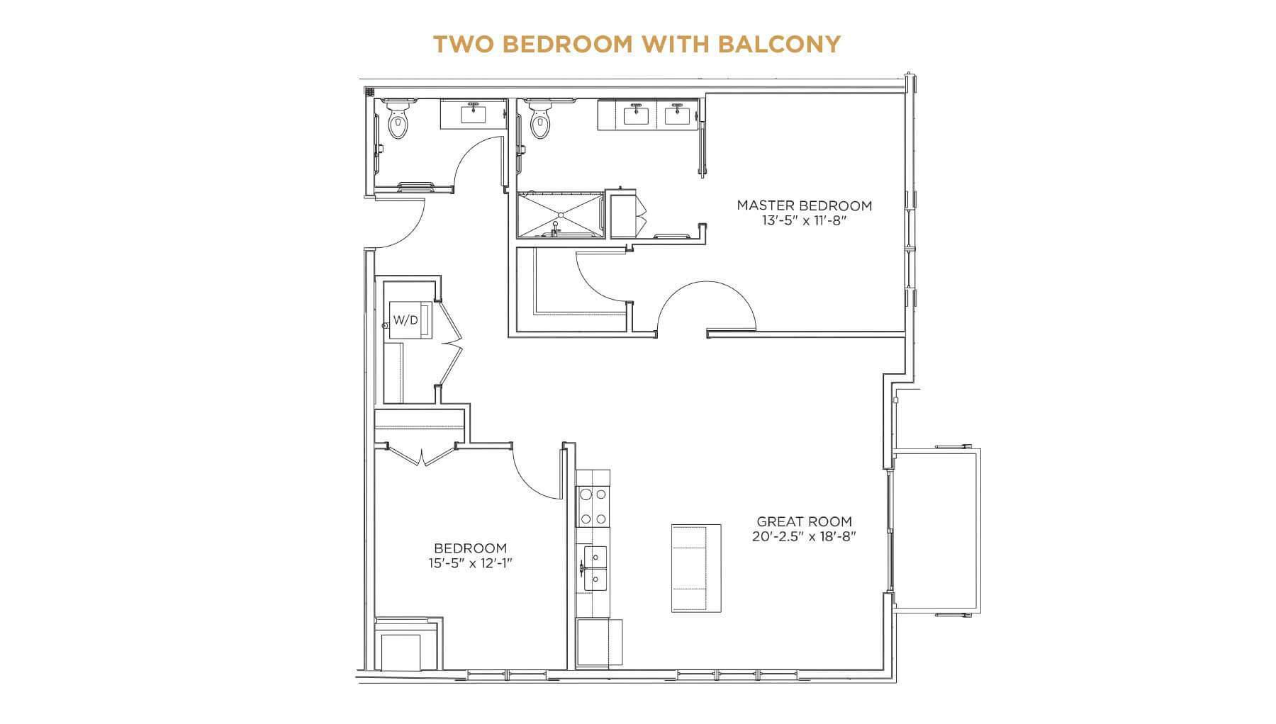 Two Bedroom with Balcony Floor Plan - senior living 55 and over Cedar Rapids - Grand Living at Indian Creek