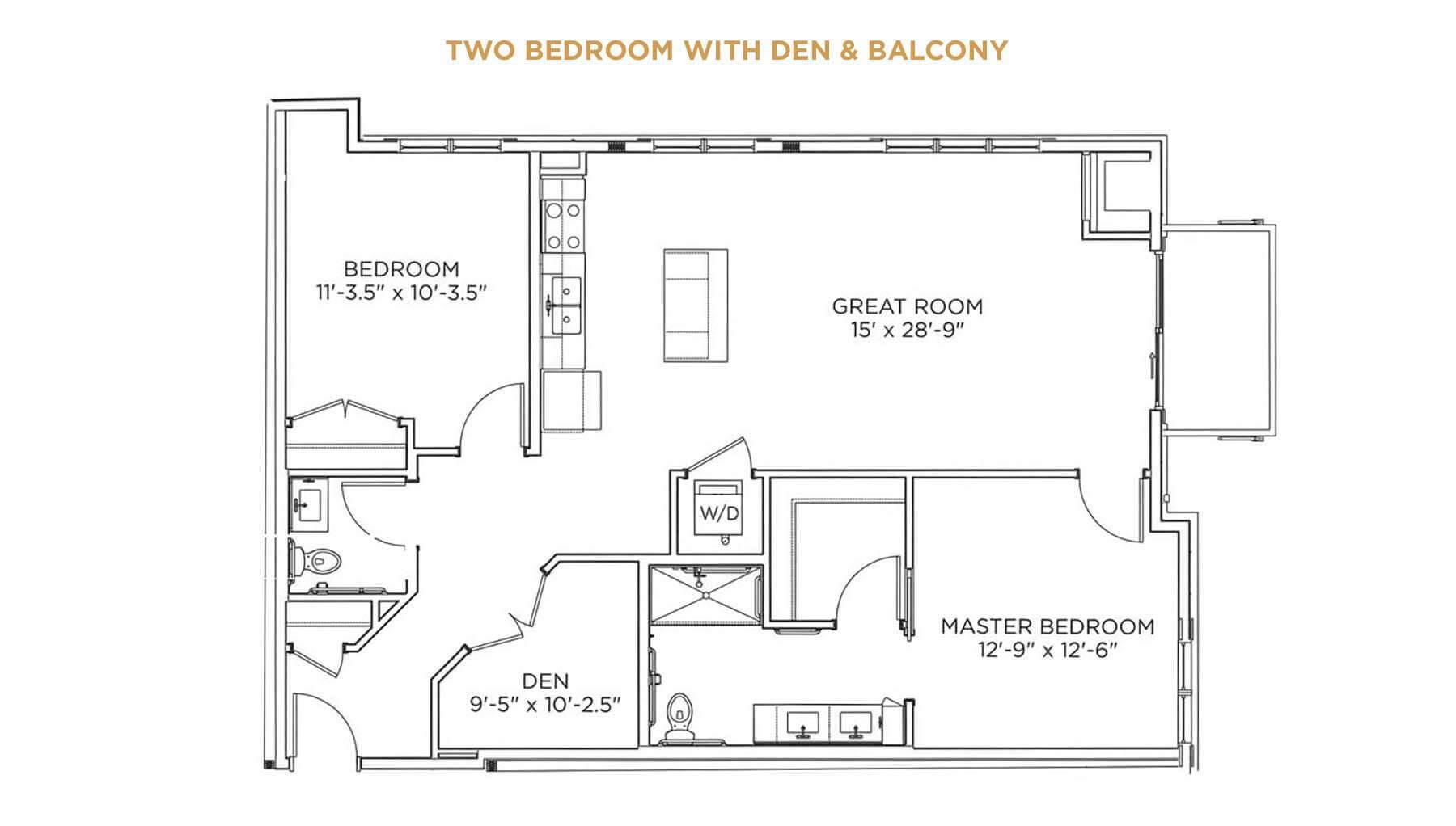 Two Bedroom with Den and Balcony Floor Plan - Senior Living Near Me - Grand Living at Indian Creek