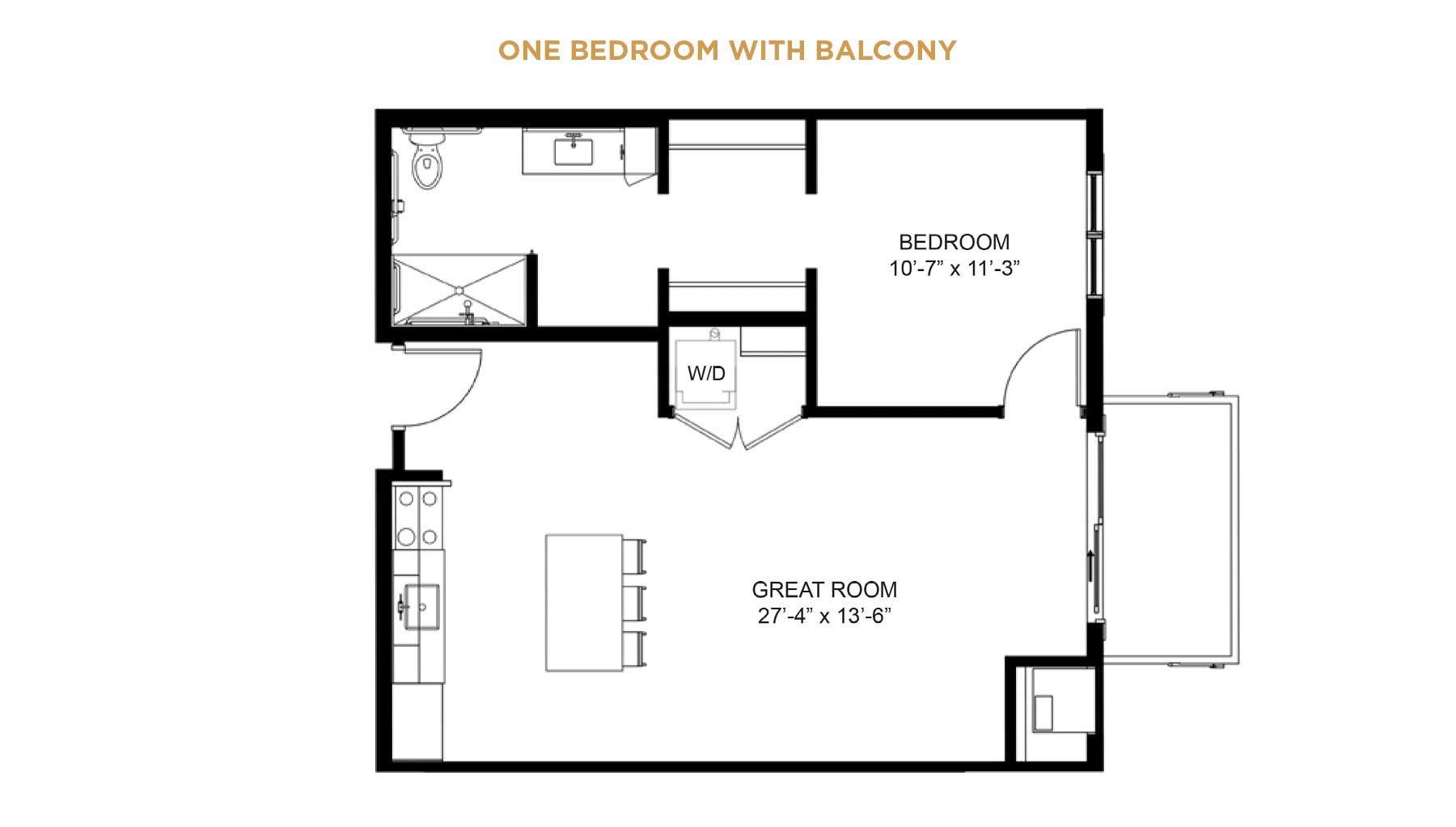 Senior Living one bedroom floor plan with balcony
