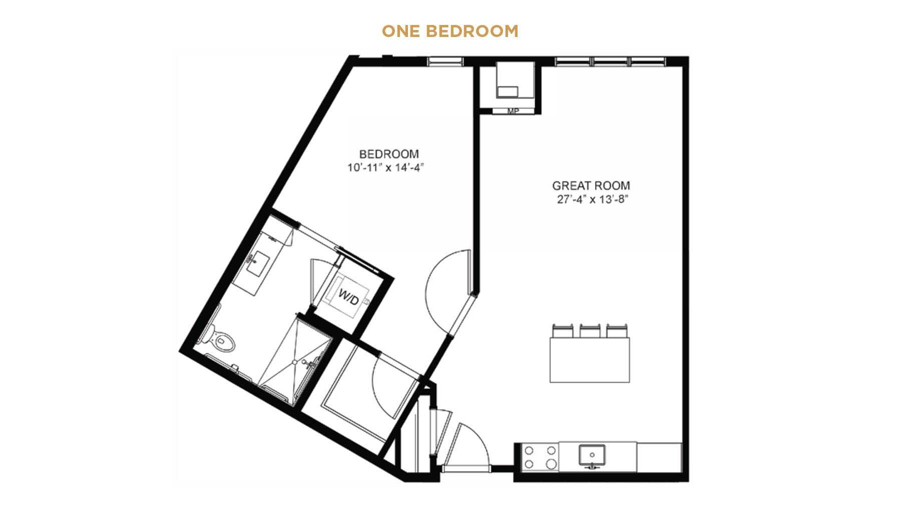 Senior Living one bedroom floor plan