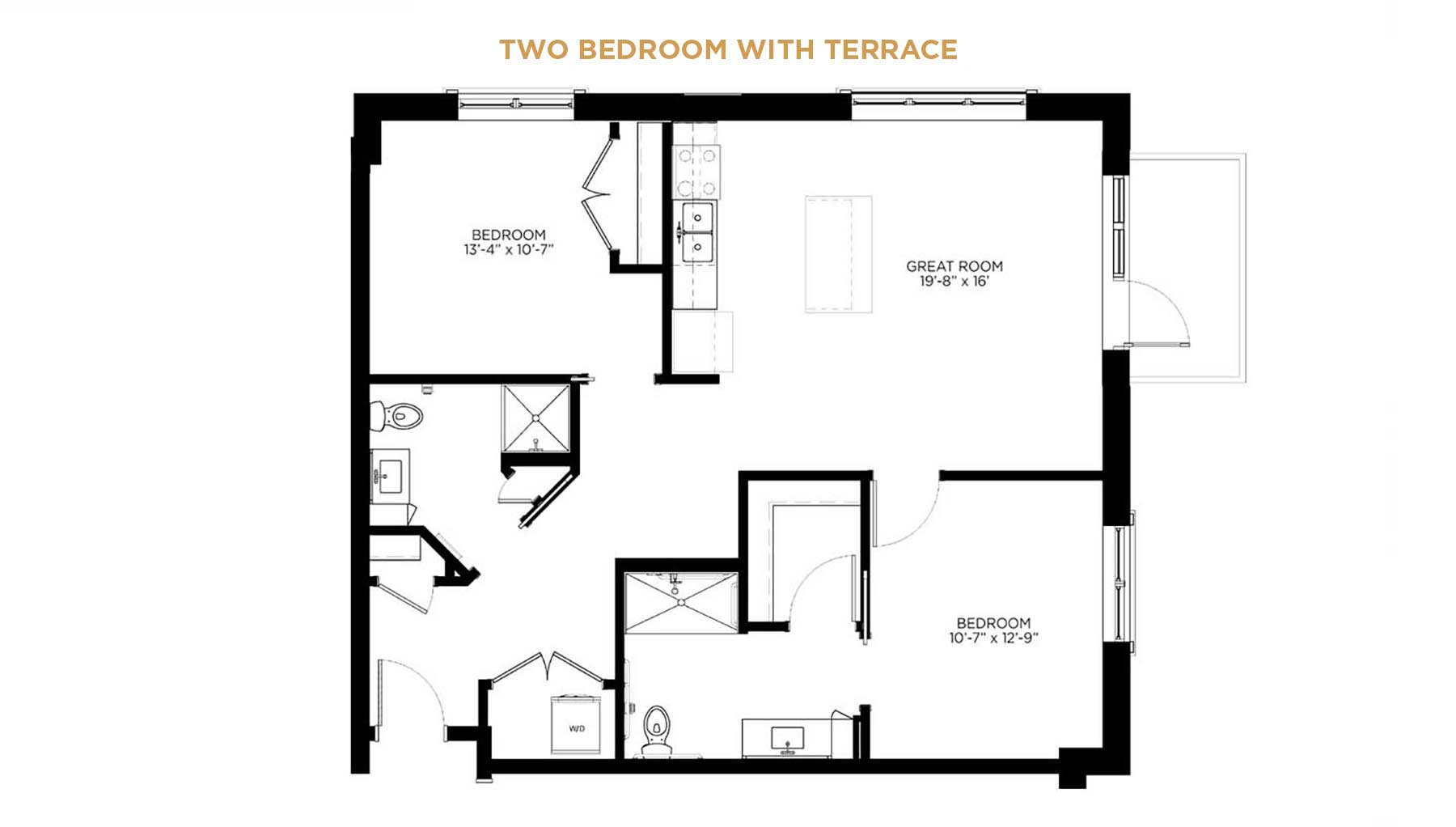Independent living two bedroom floor plan with terrace