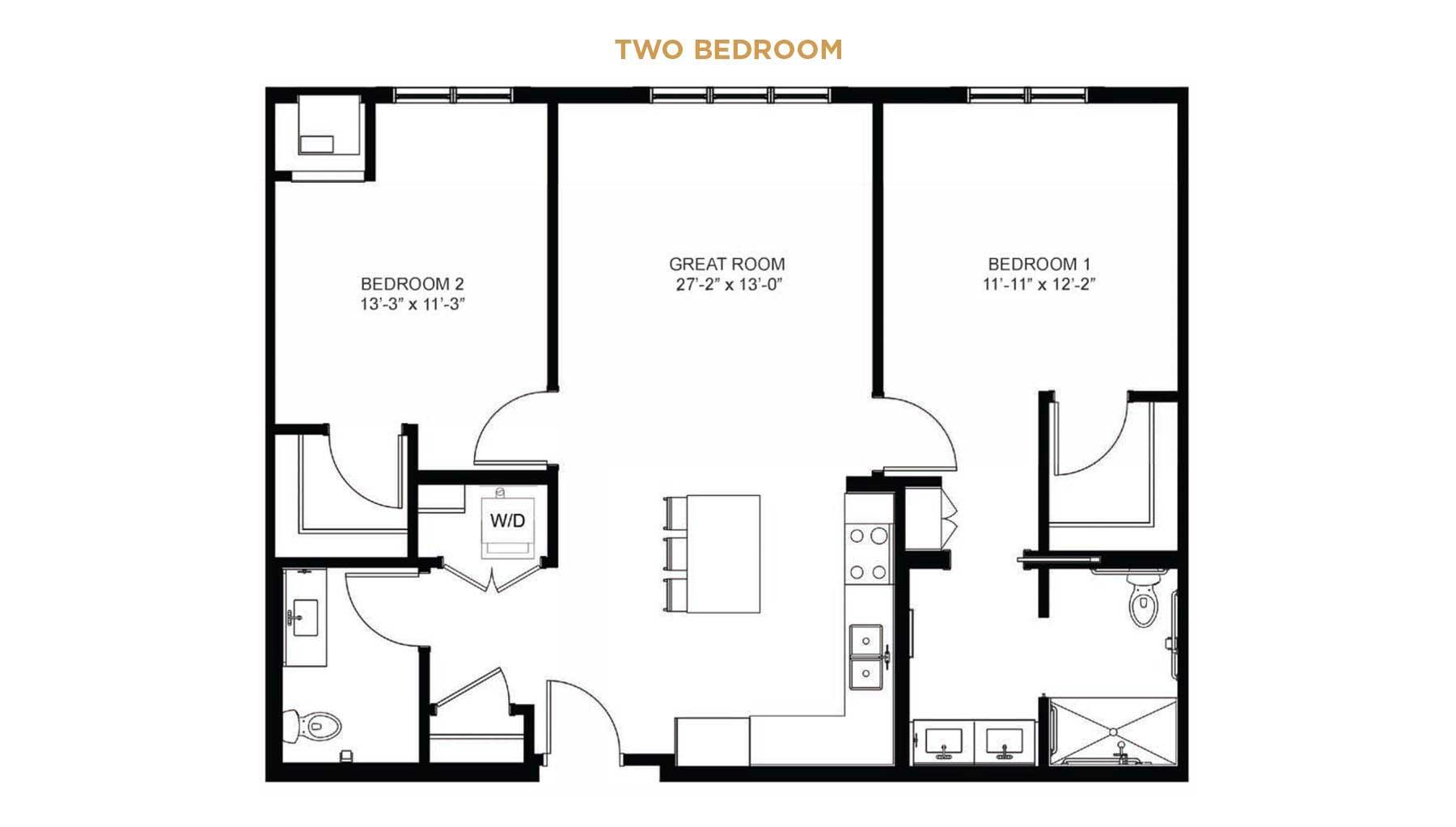 senior living two bedroom floor plan