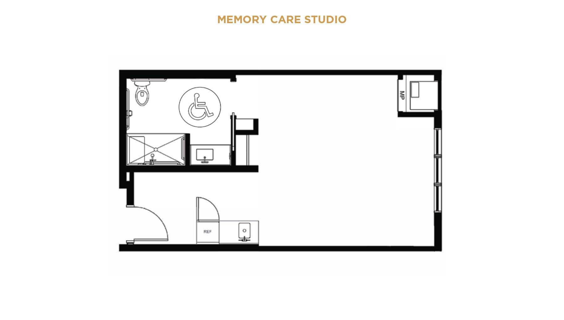 memory care studio floor plan for seniors