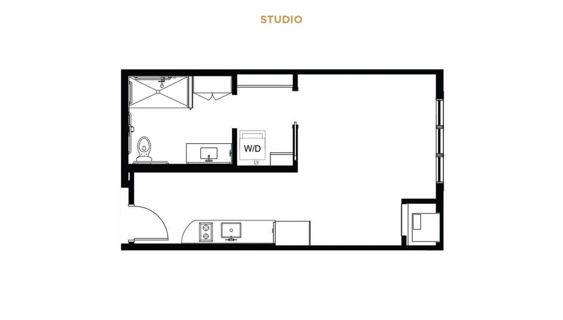 Senior living studio floor plan