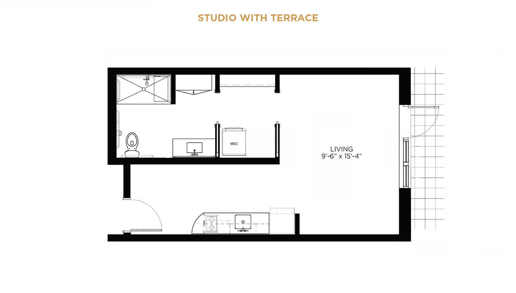 studio floorplan with terrace