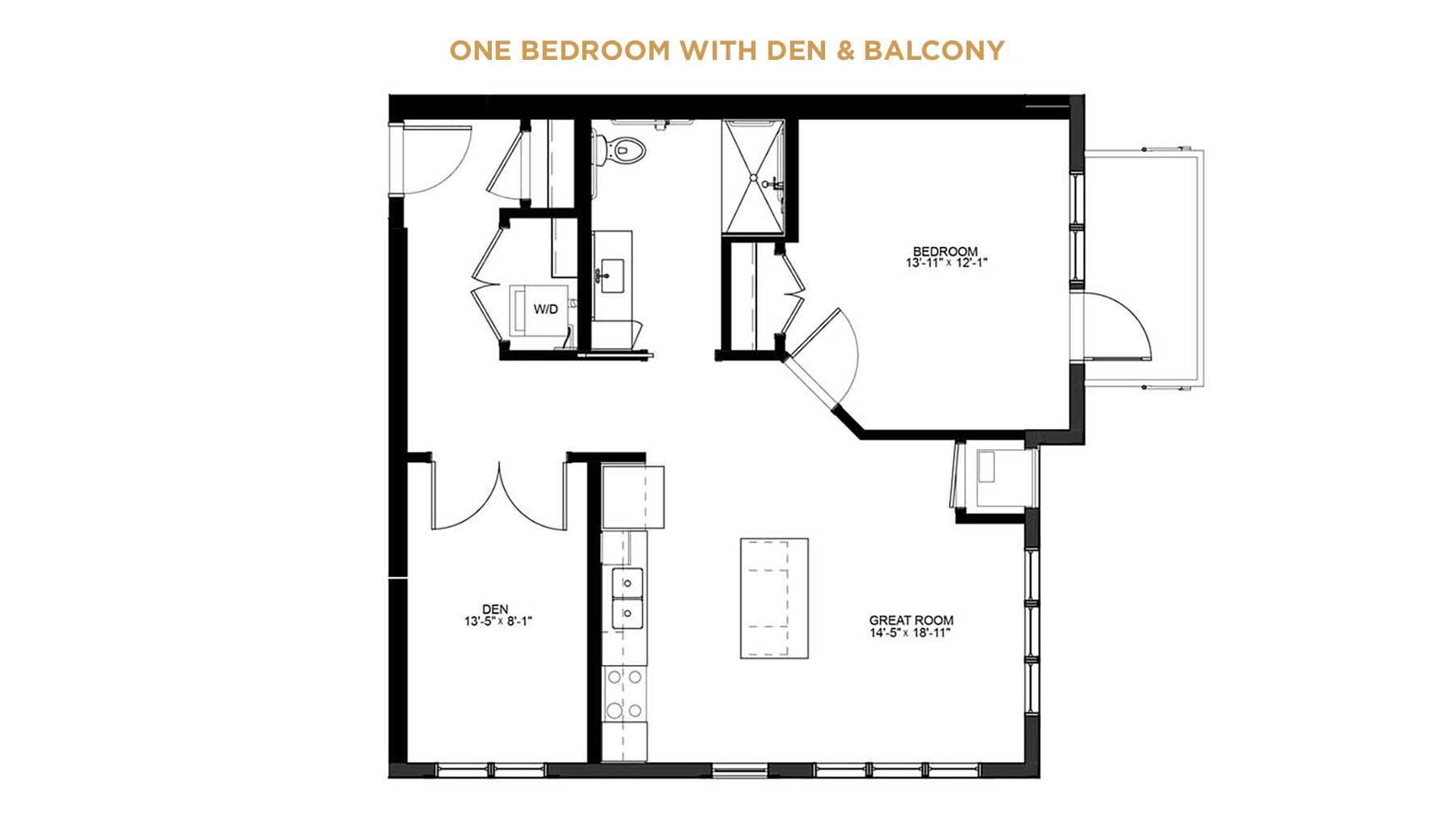 one bedroom with den floorplan