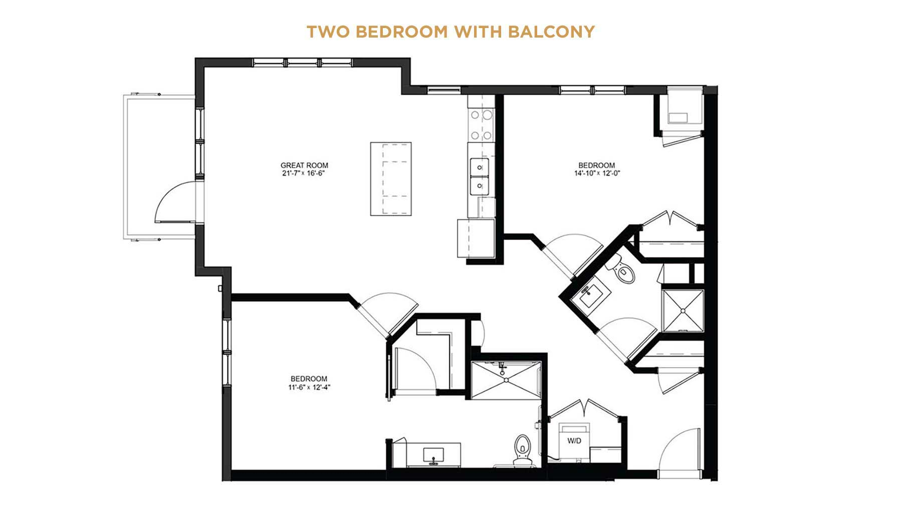 Two bedroom with balcony floorplan