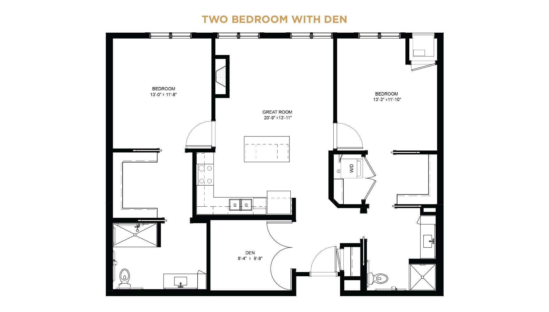Two bedroom with den floorplan