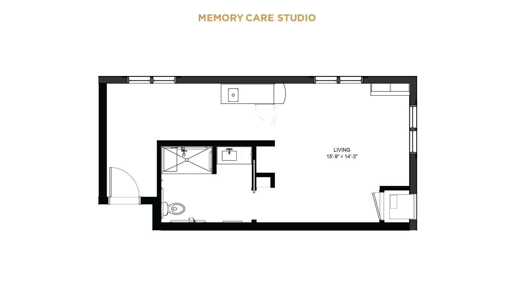 memory care studio floorplan