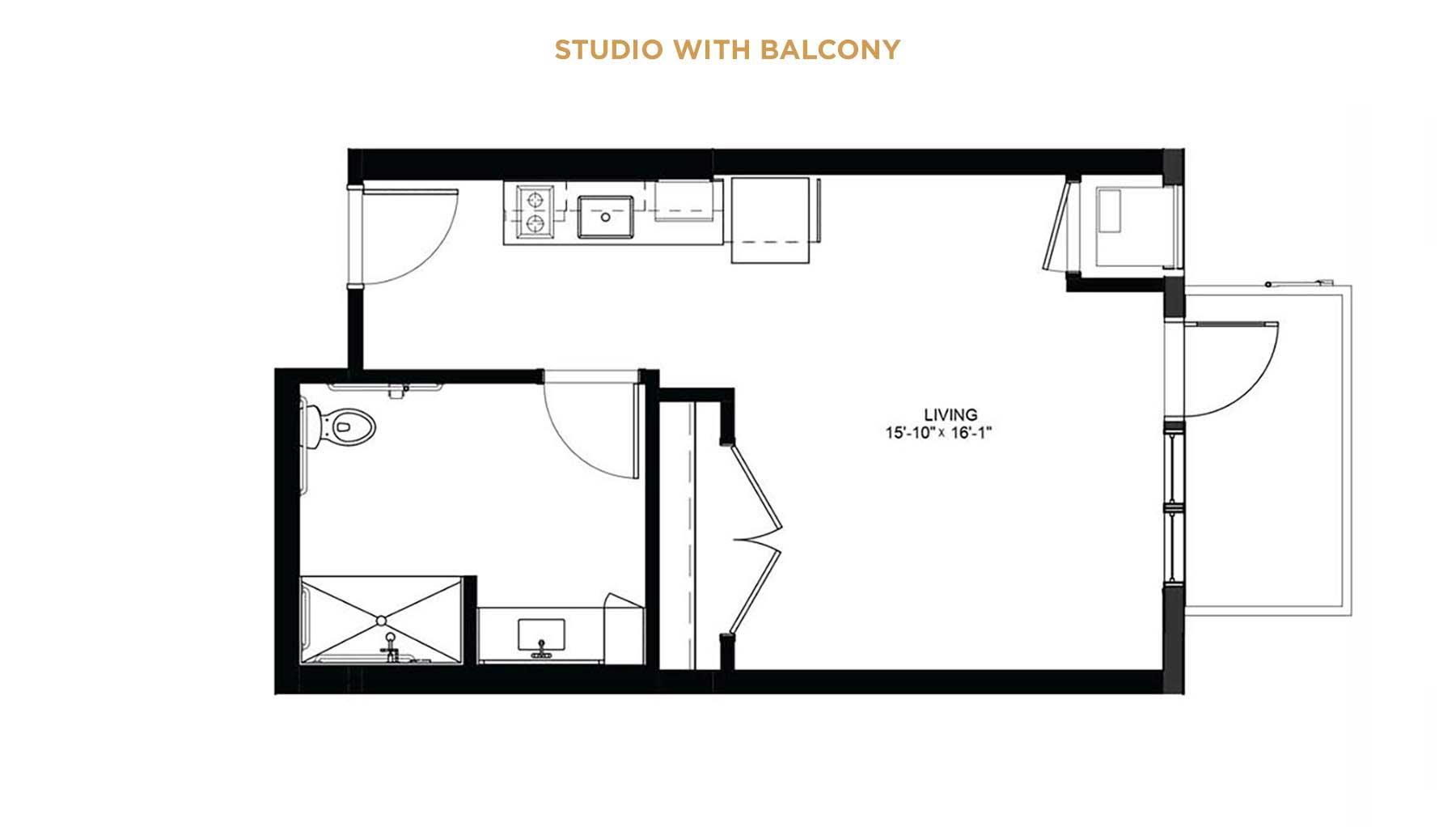Studio with balcony floorplan