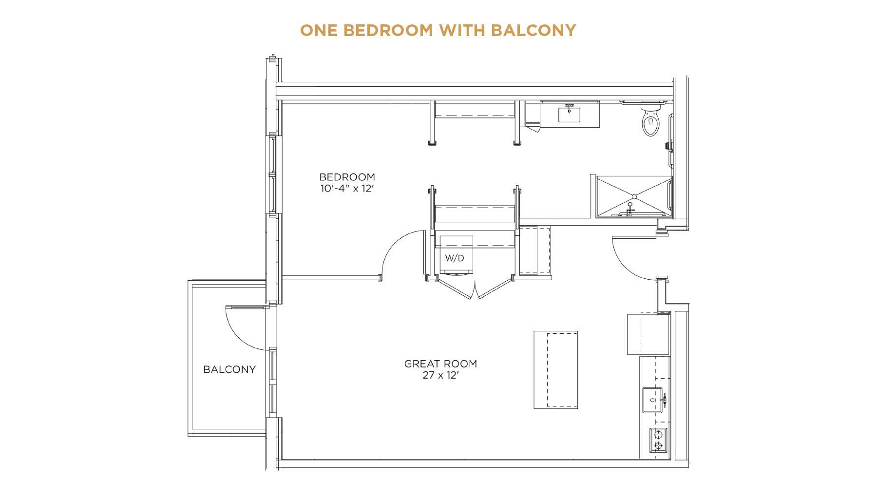 one bedroom with balcony floorplan