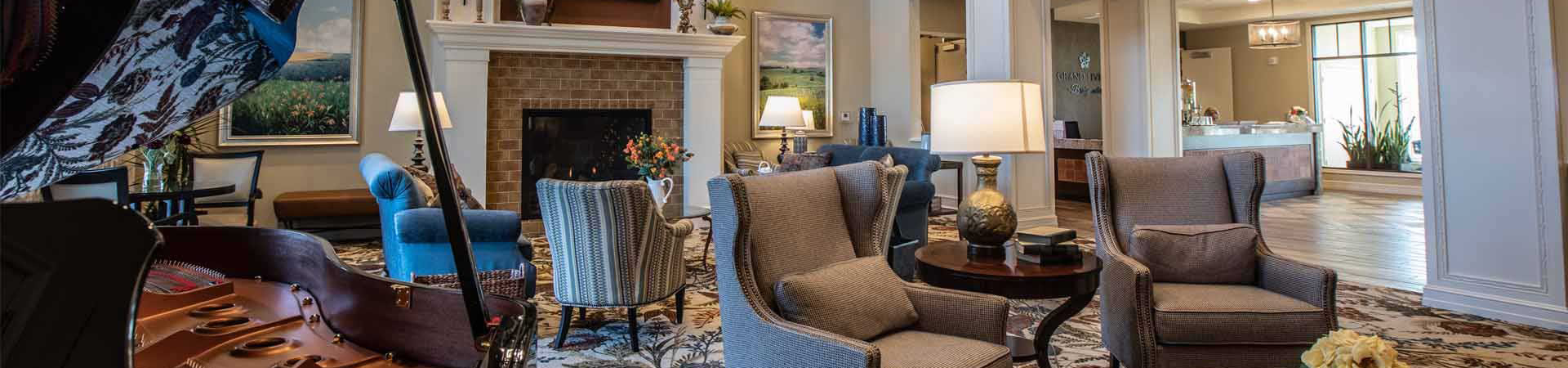 Grand Living at Bridgewater Fireplace in Lobby Coralville, IA