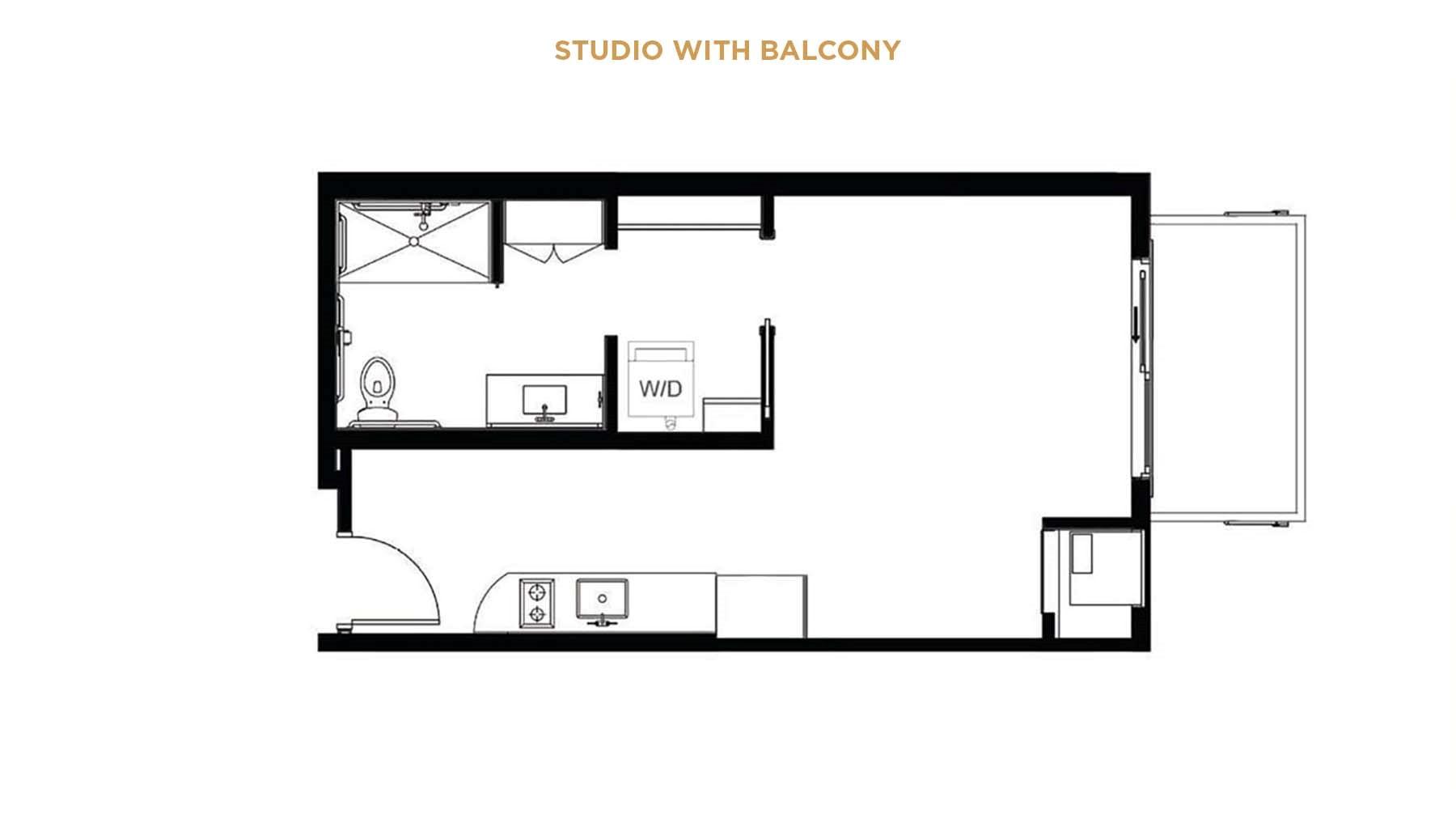 Senior living studio floor plan with balcony