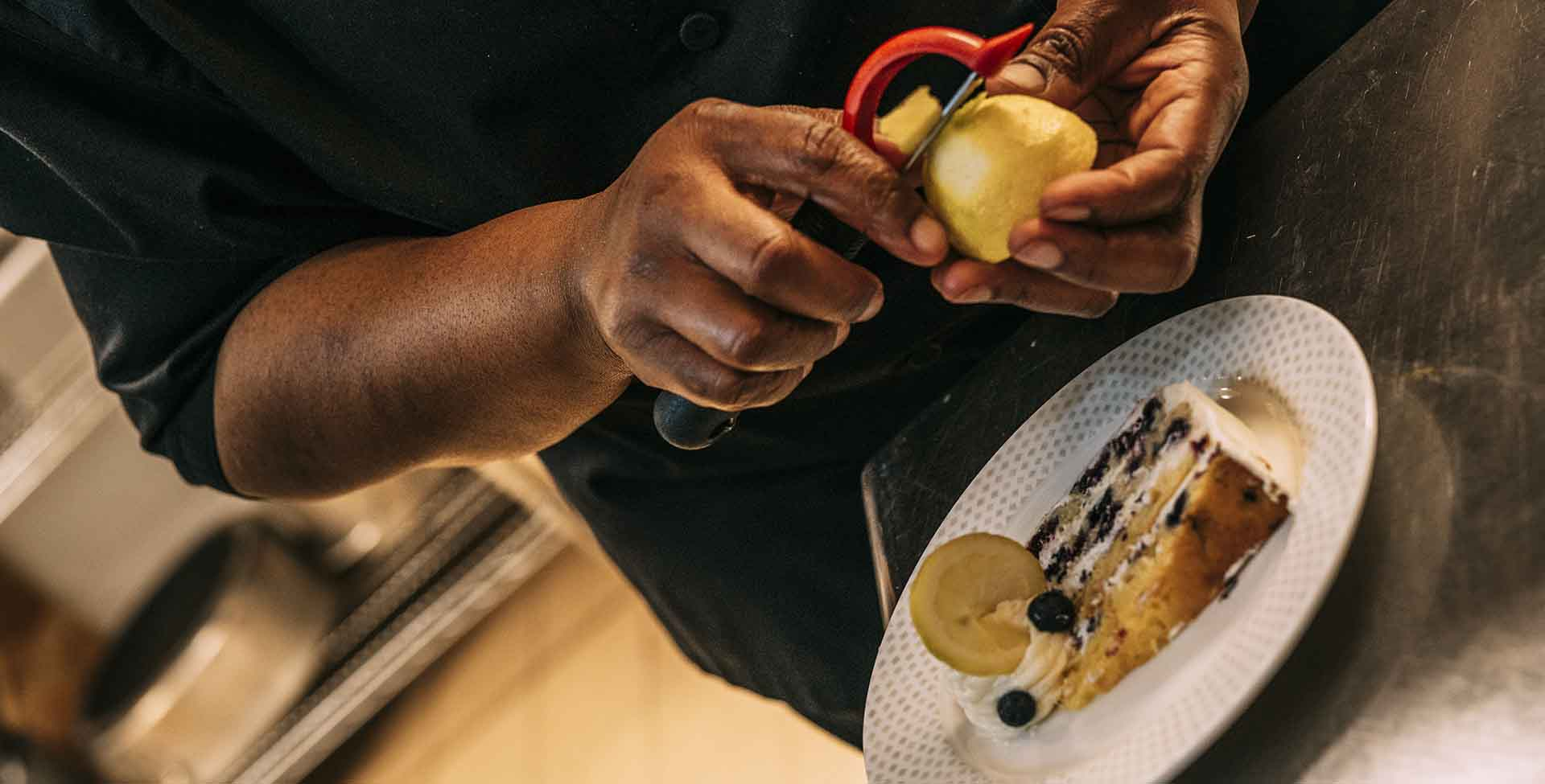 chef peeling fruit