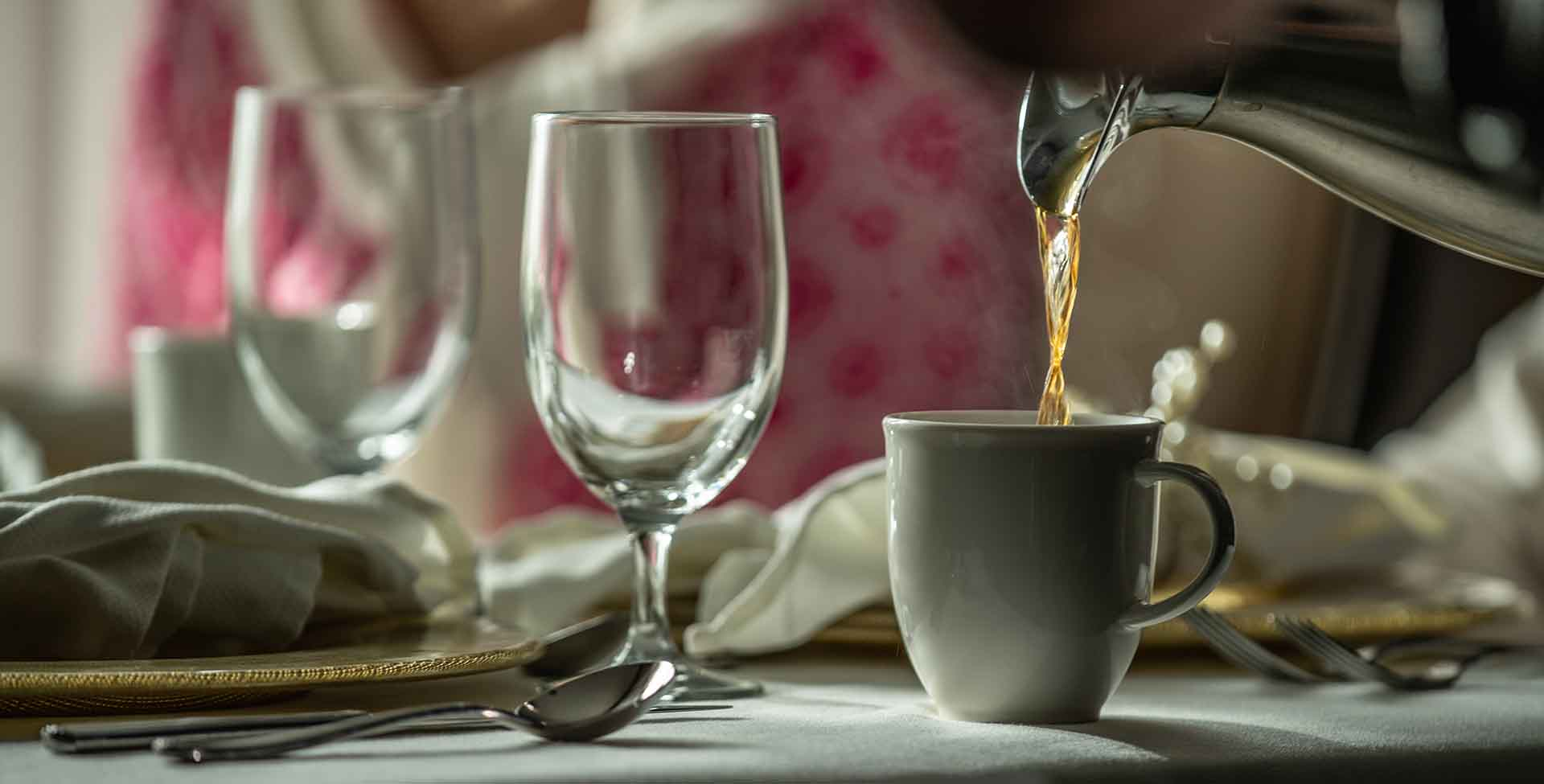 wine glasses and coffee